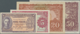 Malaya: Set Of 4 Banknotes Containing 5 Cents 1941 P. 7a (XF+ To AUNC), 1 Cent 1941 P. 6 (UNC), 50 C - Malaysie