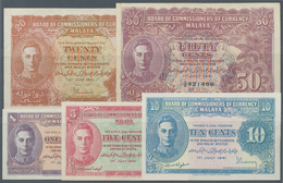 Malaya: Very Nice Set With 5 Banknotes 1, 5, 10, 20 And 50 Cents 1941, P.6-10 In VF To XF Condition. - Malaysie