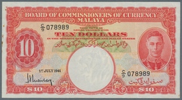 Malaya: 10 Dollars 1941, P.13, Some Rusty Spots And A Few Soft Folds. Condition: VF - Malaysie