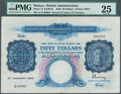 Malaya: 50 Dollars 1942, P.14, Highly Rare Note With Several Folds, Some Spots And Tiny Hole At Cent - Malaysie