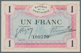 Martinique: Banque De La Martinique 1 Franc 1915, P.10, Almost Perfect Condition With Soft Diagonal - Billets