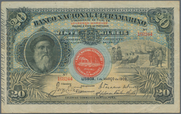 Mozambique: 20 Mil Reis 1909 P. 40, Used With Stronger Vertical And Horizontal Fold, Minor Pinholes, - Mozambique