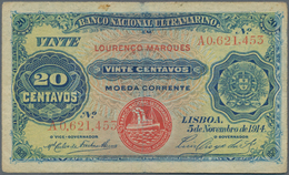 """Mozambique: 20 Centavos With Overprint """"Laurenco Marques"""" 1914 P. 60, Used With Strong Center Fold A - Mozambique"""