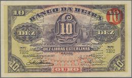 """Mozambique: Rare Banknote Of Banco Da Beira 10 Libras Esterlinas 1921 With """"cancellado"""" Perforation, - Mozambique"""