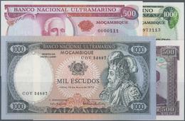 Mozambique: Set Of 4 Notes Containing 500 Escudos 1972, 1000 Escudos 1972 With Ovpt., 500 Escudos 19 - Mozambique