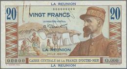 Réunion: 20 Francs ND(1947) SPECIMEN P. 43s, With Specimen Perforatoin, Zero Serial Number, Crisp Or - Réunion