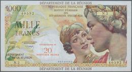 Réunion: 20 NF On 1000 Francs ND(1960) P. 55, Only A Light Center Bend And Minor Corner Folding, Cri - Réunion