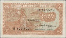Rwanda-Burundi / Ruanda-Burundi: 5 Francs 1961 Banque D'Emission Du Rwanda Et Du Burundi P. 1, Used - Ruanda-Urundi