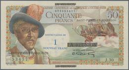 Saint Pierre & Miquelon: 1 Nouveau Franc ND(1960) Overprint On 50 Francs Reunion P. 44, S/N 07335347 - Billets