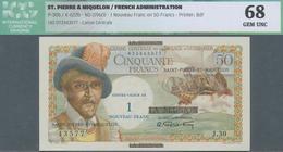 Saint Pierre & Miquelon: 1 Nouveau Franc On 50 Francs ND(1960) P. 30b, In Condition: ICG Graded 68 G - Billets