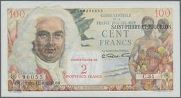 Saint Pierre & Miquelon: 2 Nouveaux Francs ND(1961) P. 32 Black Overprint On 100 Francs ND(1950-60) - Billets