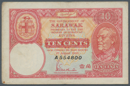 Sarawak: 10 Cents 1940, P.25a, Lightly Toned Paper With Several Folds. Condition: F - Malaysie
