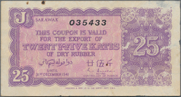Sarawak: 25 Katis 1941 Rubber Coupon, P.NL With Parts Of Thin Paper At Right Border And Brownish Sta - Malaysie