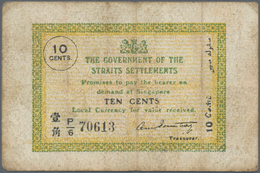 Straits Settlements: 10 Cents ND P. 6, Used With Vertical And Horizontal Folds, Light Stain In Paper - Malaysie