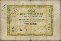 Straits Settlements: 10 Cents 1919 P. 6c In Used Condition With Folds And Stain In Paper, Condition: - Malaysie