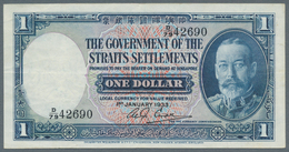 Straits Settlements: Rare Early Date 1 Dollar 1933 P. 16a, Used With Folds And Light Creases, No Hol - Malaysie