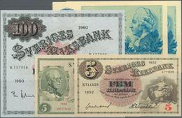 Sweden / Schweden: Set Of 5 Notes Containing 5 Kronor 1952 P. 33 (UNC), 5 Kroner 1948 P. 41 (aUNC), - Sweden