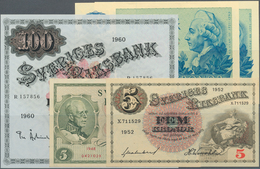 Sweden / Schweden: Set Of 5 Notes Containing 5 Kronor 1952 P. 33 (UNC), 5 Kroner 1948 P. 41 (aUNC), - Suède