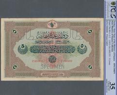 Turkey / Türkei: Rare Specimen Banknote Of 5 Livres ND(1915-16) AH1331, RS-1-2-2, With Arablic Speci - Turquie