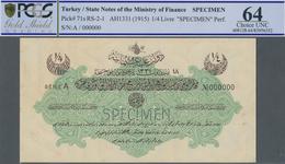 Turkey / Türkei: 1/4 Livre ND(1915) Specimen P. 71s, Rare Note In Condition: PCGS Graded 64 Choice U - Turquie