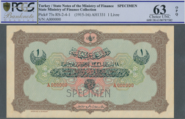 Turkey / Türkei: 1 Livre ND(1915-16) Specimen P. 73s In Condition: PCGS Graded 63 Choice UNC OPQ. - Turquie