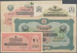 Turkey / Türkei: Set Of 4 Banknotes Containing 2 1/2 Piastres 1913 P. 86 (aUNC), 5 Piastres 1913 P. - Turquie