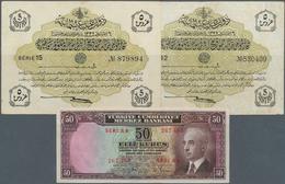 Turkey / Türkei: Set Of 3 Notes Containing 2x 5 Piastres ND P. 87 (VF+ And VF-) As Well As 50 Kurus - Turquie