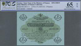 Turkey / Türkei: 5 Piastres ND(1916-17) Specimen P. 87s With Zero Serial Numbers And Specimen Perfor - Turquie