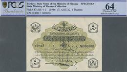 Turkey / Türkei: 5 Piastres ND(1916-17) Specimen P. 87s In Condition: PCGS Graded 64 Choice UNC. - Turquie