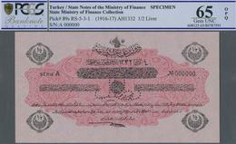 Turkey / Türkei: 1/2 Livre ND(1916-17) Specimen P. 89s With Zero Serial Numbers And Speicmen Perfora - Turquie
