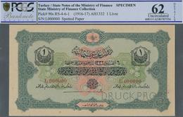 Turkey / Türkei: 1 Livre ND(1916-17) Specimen P. 90s, Rare Note In Condition: PCGS Graded 62 UNC. - Turquie