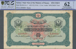 Turkey / Türkei: 1 Livre ND(1916) Specimen P. 90s With Zero Serial Numbers And Specimen Perforation - Turquie