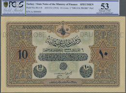 Turkey / Türkei: Rare Specimen Banknote Of 10 Livres ND(1916) AH1332, RS-4-8, With German Specimen P - Turquie