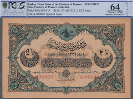 Turkey / Türkei: 2 1/2 Livres ND(1916-17) Specimen P. 100s, Rare Note With Zero Serial Numbers And S - Turquie