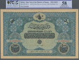 Turkey / Türkei: Rare Specimen Banknote Of 500 Livres ND(1918) AH1334, RS-7-2, With German Specimen - Turquie