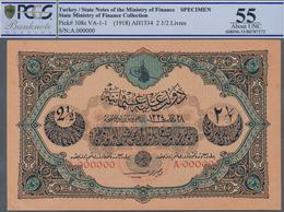 Turkey / Türkei: 2 1/2 Livres ND(1918) Specimen P. 108s, Rare Note With Zero Serial Numbers And Spec - Turquie