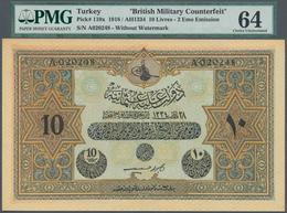Turkey / Türkei: 10 Livres - 2 Eme Emission AH1334 (1918) British Military Counterfeit, P.110x, PMG - Turquie