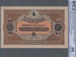 Turkey / Türkei: Rare Specimen Banknote Of 100 Livres ND(1918) AH1334, VA-6, With German Specimen Pe - Turquie