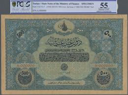 Turkey / Türkei: Rare Specimen Banknote Of 500 Livres ND(1918) AH1334 Pick 114s, VA-7, With German S - Turquie