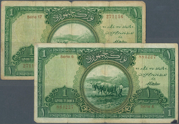 Turkey / Türkei: Set Of 2 Notes 1 Livre L.1926 P. 119, Similar Condition, Used With Vertical Folds, - Turquie