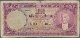 Turkey / Türkei: 1000 Lira 1953 P. 172, Used With Stronger Folds, Borders Worn, Center Tear And Smal - Turquie
