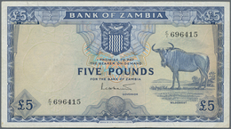 Zambia / Sambia: 5 Pounds ND(1964) P. 3, In Used Condition Pressed With Light Folds In Paper, No Hol - Zambie