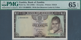 Zambia / Sambia: 1 Kwacha ND(1968) P. 5a With Low Serial Number #000036, Condition: PMG Graded 65 Ge - Zambie