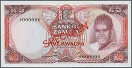 Zambia / Sambia: 5 Kwacha ND(1973) SPECIMEN, P.15s In Perfect UNC Condition - Zambie