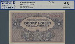 Czechoslovakia / Tschechoslowakei: 10 Korun 1919 P. 8b, S/N O, WBG Graded 53 AUNC. - Tchécoslovaquie