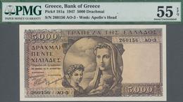 Greece / Griechenland: 5000 Drachmai 1947, P.181a PMG Graded 55 AUNC EPQ. - Greece