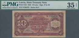 Latvia / Lettland: 10 Latu 1925, P.24d, Minor Foreign Substance, Sign #7 & #6, PMG Graded 35 Choice - Latvia