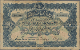 Turkey / Türkei: 5 Livres 1909 P. 64a, Used With 3 Strong Vertical And One Horizontal Fold, Stained - Turquie