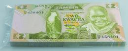 Zambia / Sambia: Bundle With 100 Pcs. Zambia 2 Kwacha, P.24c In UNC - Zambie