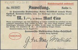 Deutschland - Notgeld - Niedersachsen: Hannover-Linden, HANOMAG A.G., 1 (7), 2 (8), 5 (10) Mark, 20. - [11] Emissions Locales